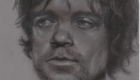 Charcoal Peter Dinklage from sketchbook.