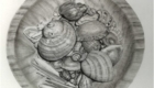 Carbon dust drawing of shells in wooden bowl.